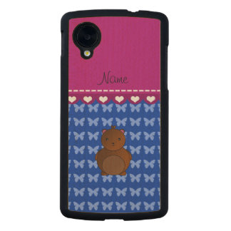 Personalized name bear blue butterflies carved® maple nexus 5 case