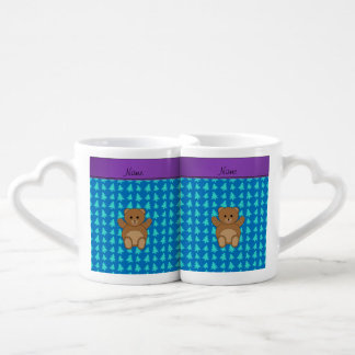 Personalized name bear blue christmas trees couples' coffee mug set