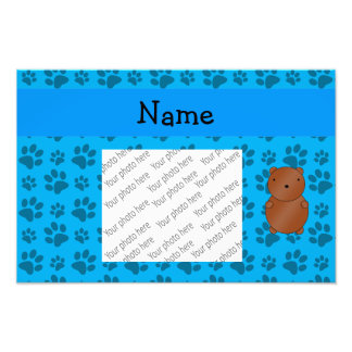 Personalized name bear blue paw pattern photograph
