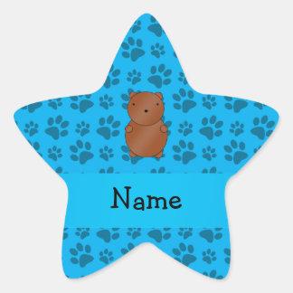 Personalized name bear blue paw pattern star sticker