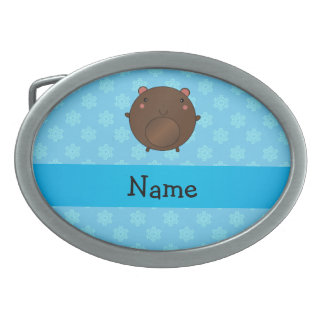 Personalized name bear blue snowflakes oval belt buckles