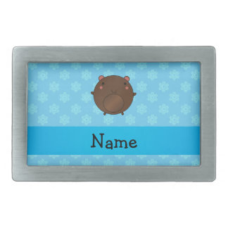 Personalized name bear blue snowflakes rectangular belt buckle