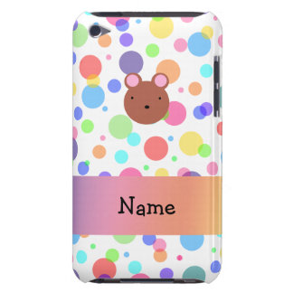 Personalized name bear face rainbow polka dots barely there iPod covers
