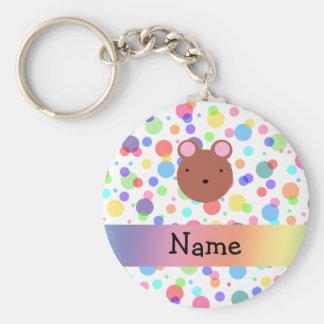 Personalized name bear face rainbow polka dots keychain