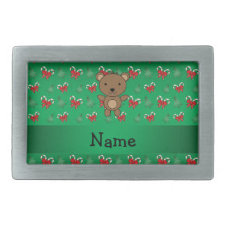 Personalized name bear green candy canes bows belt buckles