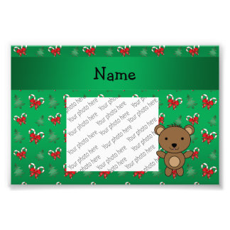 Personalized name bear green candy canes bows photo print