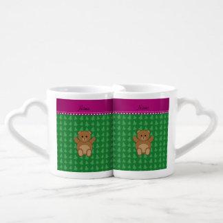 Personalized name bear green christmas trees couples' coffee mug set