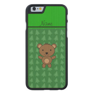 Personalized name bear green christmas trees carved® maple iPhone 6 case