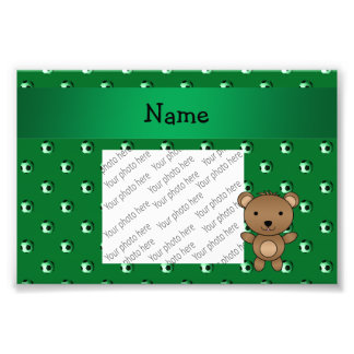 Personalized name bear green soccer balls photo