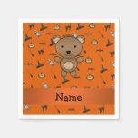 Personalized name bear halloween pattern standard cocktail napkin