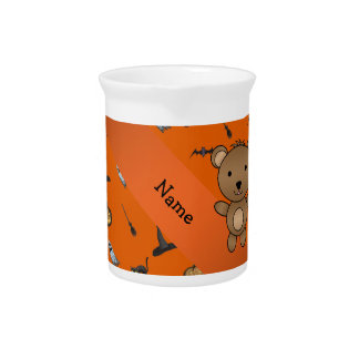 Personalized name bear halloween pattern beverage pitchers