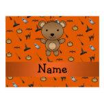 Personalized name bear halloween pattern postcard
