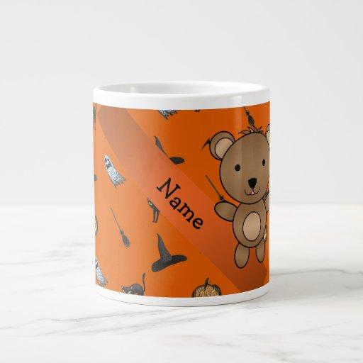 Personalized name bear halloween pattern jumbo mugs