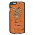 Personalized name bear halloween pattern carved® maple iPhone 6 case