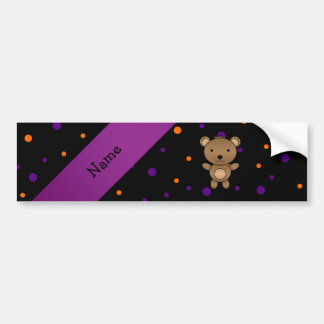 Personalized name bear halloween polka dots bumper stickers