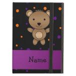 Personalized name bear halloween polka dots iPad covers
