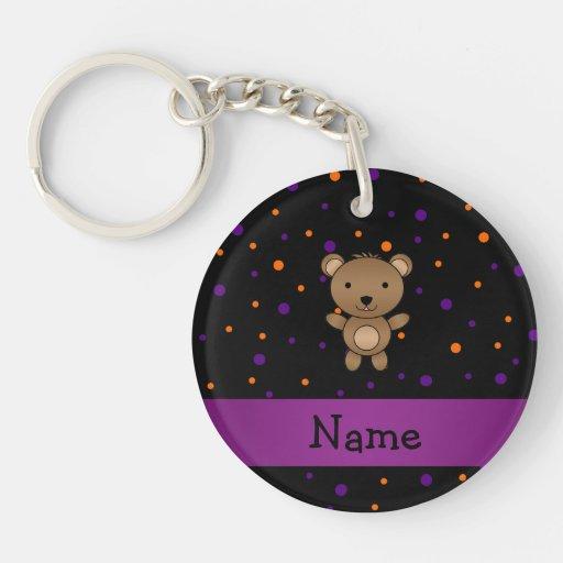 Personalized name bear halloween polka dots Single-Sided round acrylic keychain