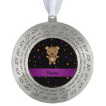 Personalized name bear halloween polka dots round pewter christmas ornament