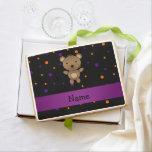 Personalized name bear halloween polka dots jumbo cookie