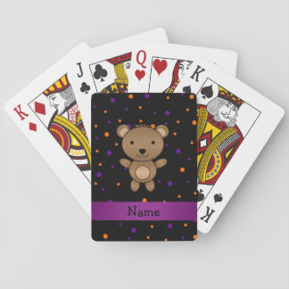 Personalized name bear halloween polka dots playing cards
