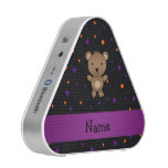 Personalized name bear halloween polka dots bluetooth speaker