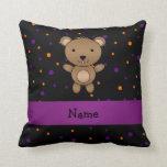 Personalized name bear halloween polka dots pillow