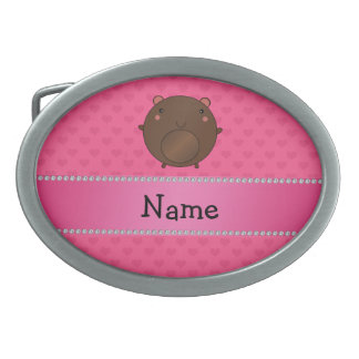 Personalized name bear pink hearts belt buckles