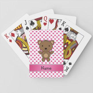 Personalized name bear pink hearts polka dots poker deck