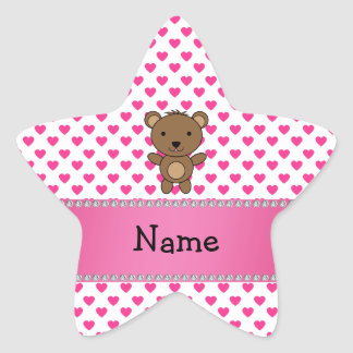 Personalized name bear pink hearts polka dots star sticker