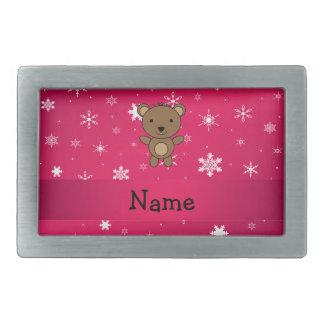 Personalized name bear pink snowflakes rectangular belt buckles