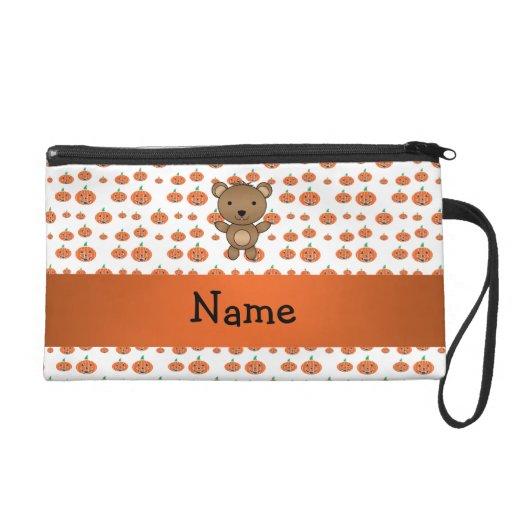 Personalized name bear pumpkins pattern wristlet purses