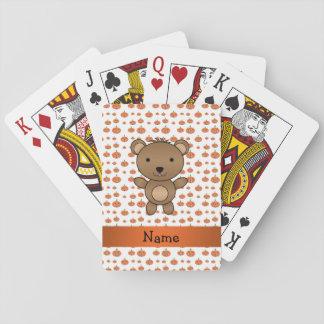 Personalized name bear pumpkins pattern poker cards