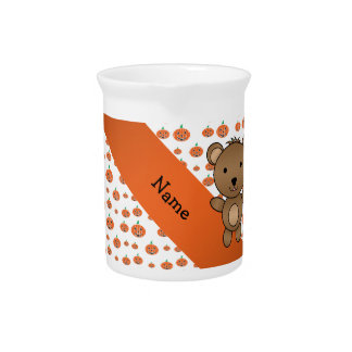 Personalized name bear pumpkins pattern pitcher