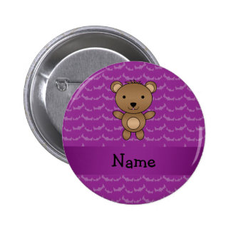 Personalized name bear purple bats 2 inch round button