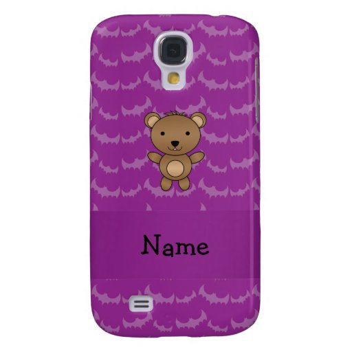 Personalized name bear purple bats galaxy s4 cover