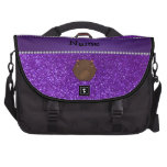 Personalized name bear purple glitter commuter bags