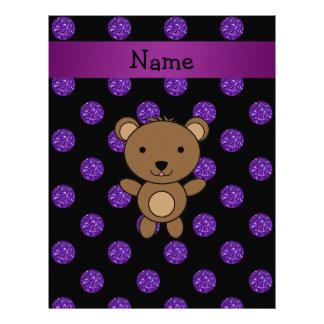 Personalized name bear purple glitter polka dots letterhead
