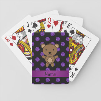 Personalized name bear purple glitter polka dots card decks