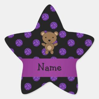 Personalized name bear purple glitter polka dots star sticker