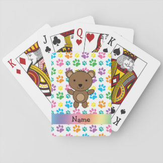 Personalized name bear rainbow paws poker deck