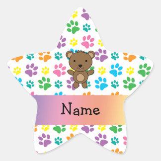 Personalized name bear rainbow paws star sticker