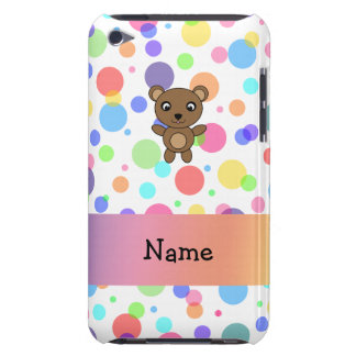 Personalized name bear rainbow polka dots barely there iPod cover