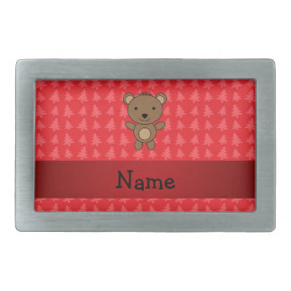 Personalized name bear red christmas trees belt buckles