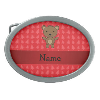 Personalized name bear red christmas trees belt buckle