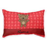 Personalized name bear red christmas trees small dog bed