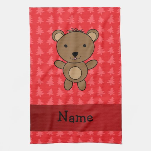 Personalized name bear red christmas trees kitchen towels