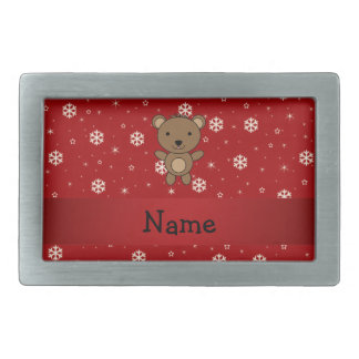 Personalized name bear red snowflakes rectangular belt buckle
