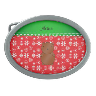 Personalized name bear red snowflakes green stripe belt buckle