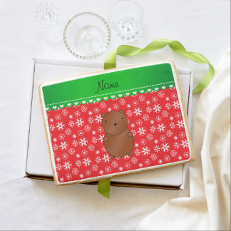 Personalized name bear red snowflakes green stripe jumbo cookie