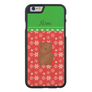 Personalized name bear red snowflakes green stripe carved® maple iPhone 6 slim case